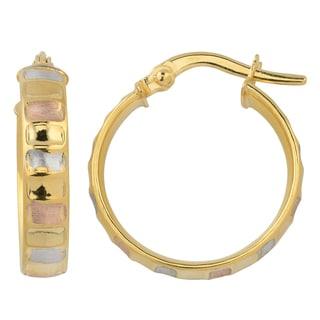 Fremada 10k Tri Color Gold Satin Finish Ripple Design Surface Hoop Earrings