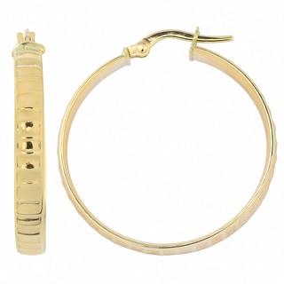 Fremada 10k Yellow Gold Ripple Design Surface Hoop Earrings