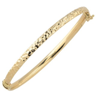 Fremada 10k Yellow Gold 4-mm Hammered Surface Design Bangle