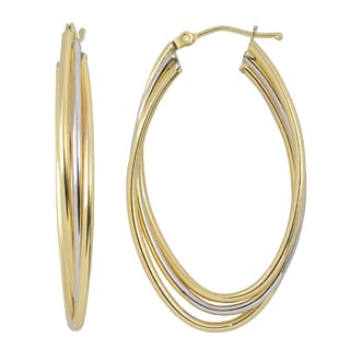 Fremada 10k Two-tone Gold High Polish Overlapping Triple Elongated Hoop Earrings
