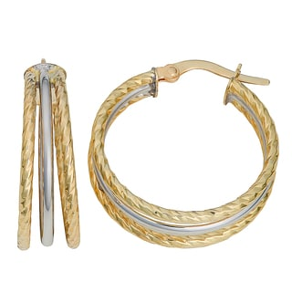 Fremada 10k Two-tone Gold Diamond-cut and High Polish Triple Hoop Earrings