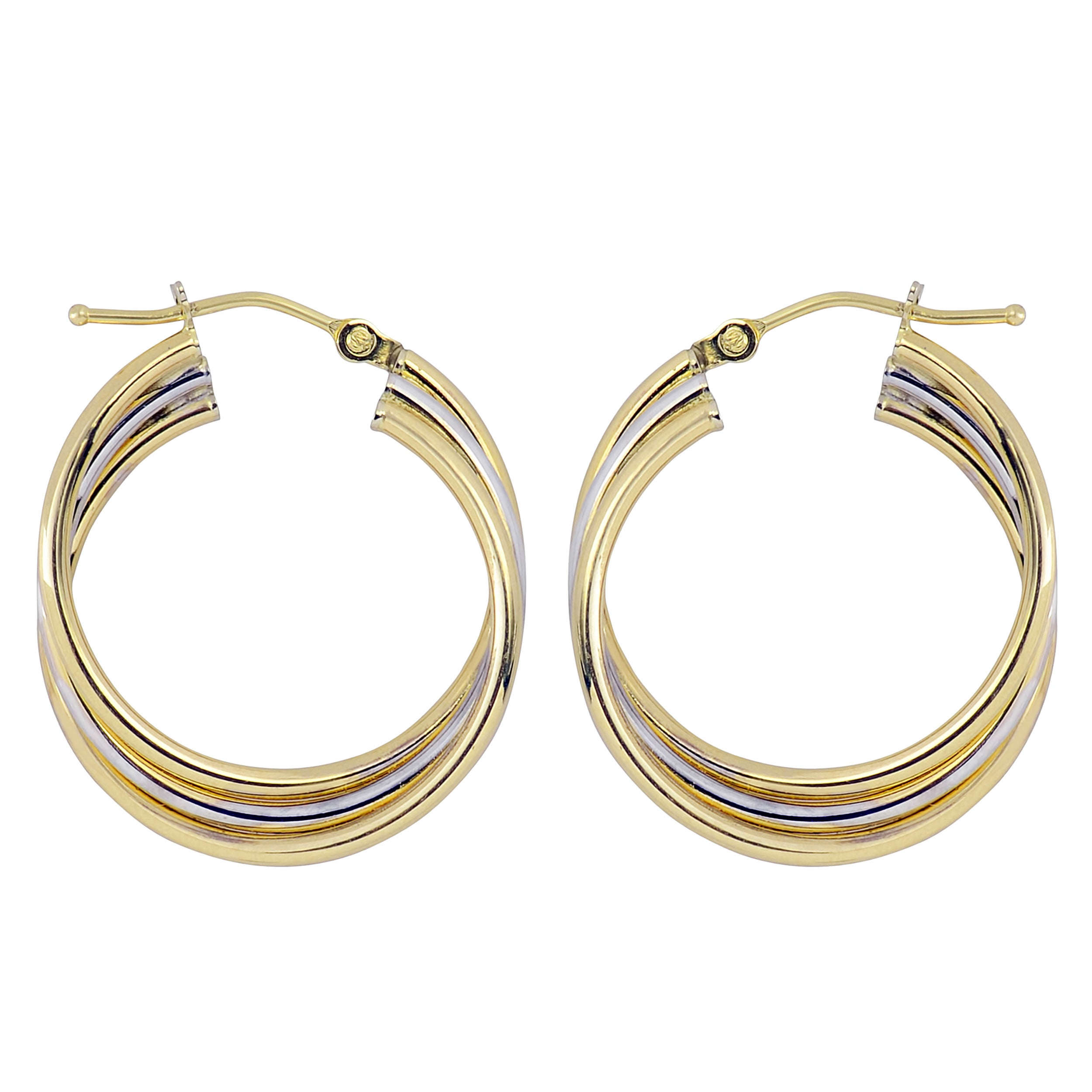 Details about  /Real 10k Two-tone White and Yellow Gold Polished Twisted Hoop Earrings; Women