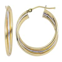 Fremada Women's 10k Two-tone Gold High Polish Overlapping Triple Hoop Earrings
