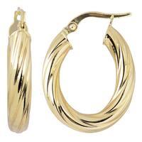 Fremada 10k Yellow Gold High Polish Swirl Design Elongated Hoop Earrings