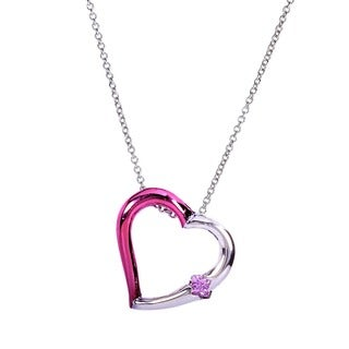 Annello 14k White Gold Princess-cut Pink Sapphire Heart Pendant with Pink Ceramic Coating