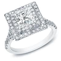 Auriya 14k White Gold 2 1/2ct TDW Certified Princess-Cut Diamond Halo Engagement