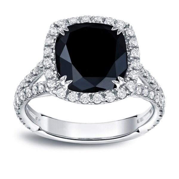 Auriya 18k White Gold 3 1/3ct TDW Cushion-Cut Black Diamond Halo Engagement Ring