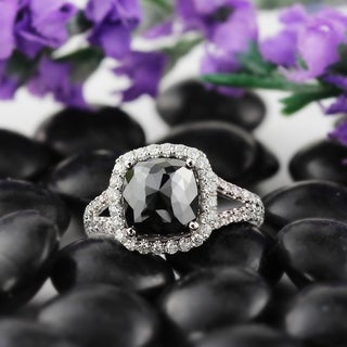 Auriya 18k White Gold 3 1/3ct TDW Black Cushion Halo Split Shank Diamond Ring