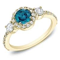Auriya 14k Gold 3/4ct TDW 3-Stone Blue and White Diamond Halo Engagement Ring