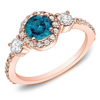 Auriya 14k Rose Gold 3/4ct TDW Blue Diamond 3-stone Halo Engagement Ring