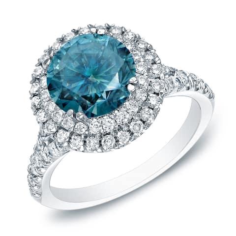 Auriya 14k Gold Double Halo Blue Diamond Engagement Ring 1 5/8ctw