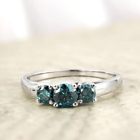 Auriya 14k Gold 1ctw 3-Stone Blue Diamond Engagement Ring