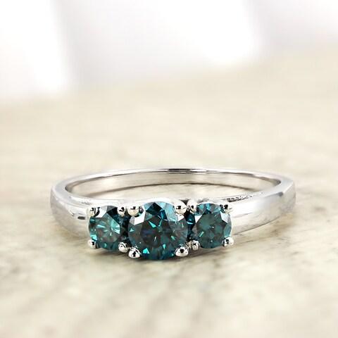 Auriya 1ct TDW Round Three Stone Blue Diamond Engagement Ring 14k Gold