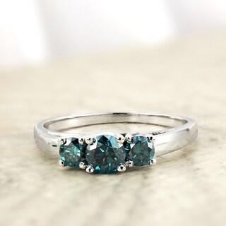 Auriya 14k Gold 1ct TDW 3-Stone Blue Diamond Engagement Ring