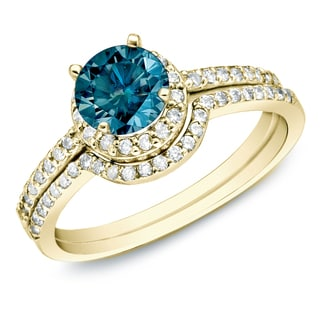 Auriya 14k Gold 1ct TDW Blue Diamond Bridal Ring Set