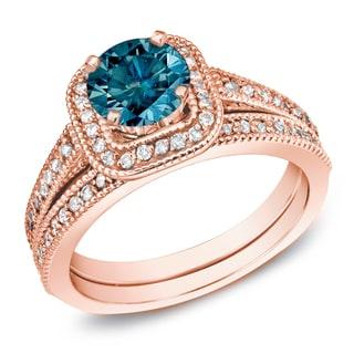 Auriya 14k Rose Gold 1 Carat TW Unique Halo Blue Diamond Engagement Ring Set