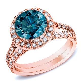 Auriya 14k Rose Gold 1ct TDW Round Diamond Halo Bridal Ring Set (H-I, SI1-SI2)