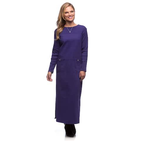 Women's Purple Long Sleeve Knit Dress
