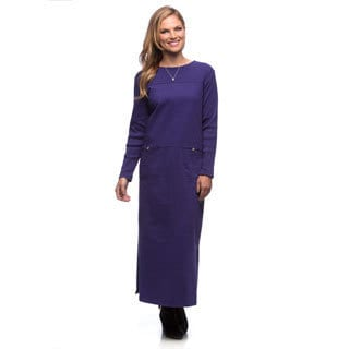 Women's Purple Long Sleeve Knit Dress
