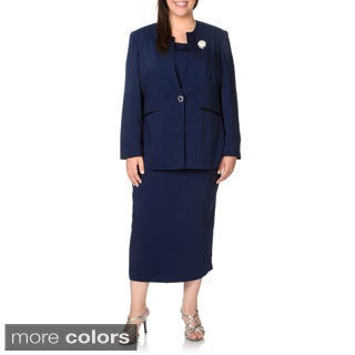 Giovanna Signature Plus Size 3-piece Button Closure Suit