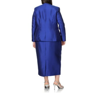 Giovanna Plus Size Blue Rhinestone Floral 3-piece Skirt Suit