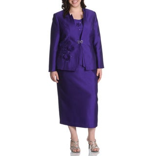 Giovanna Plus Size Blue Rhinestone Floral 3-piece Skirt Suit