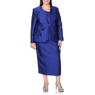Giovanna Plus Size Blue Rhinestone Floral 3-piece Skirt Suit (Option: 26w)