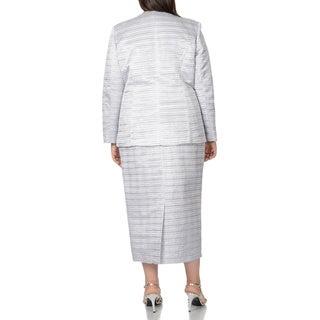 Giovanna Women's Plus Size Textured 3-piece Skirt Suit