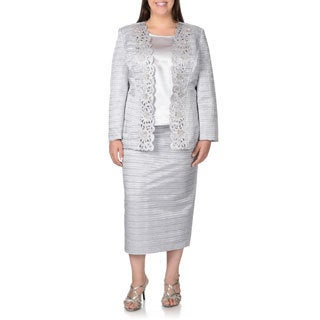 Giovanna Women's Plus Size Textured 3-piece Skirt Suit