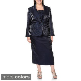 Giovanna Women's Plus Size Pleated 3-piece Skirt Suit with Rhinestone Embellishment