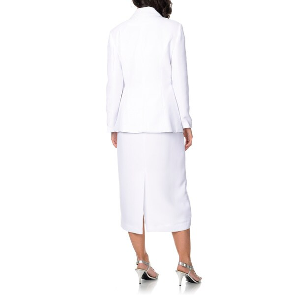 Giovanna Signature Women's Rhinestone Lapel Broached 2-piece Skirt Suit