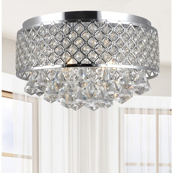 Silver Orchid Taylor 4 Light Chrome And Crystal Flush Mount Chandelier