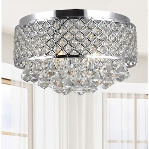 Silver Orchid Taylor 4-light Chrome and Crystal Flush Mount Chandelier - N/A