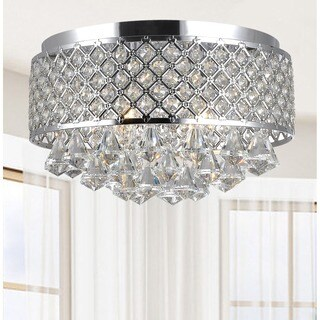 Silver Orchid Taylor 4-light Chrome and Crystal Flush Mount Chandelier