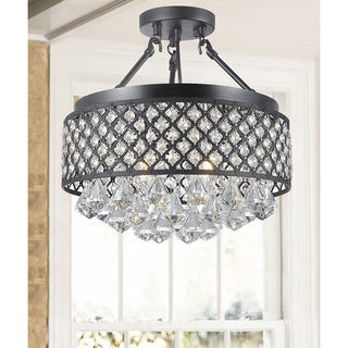 Candice 4-light Antique Black Semi Flush Mount Crystal Chandelier