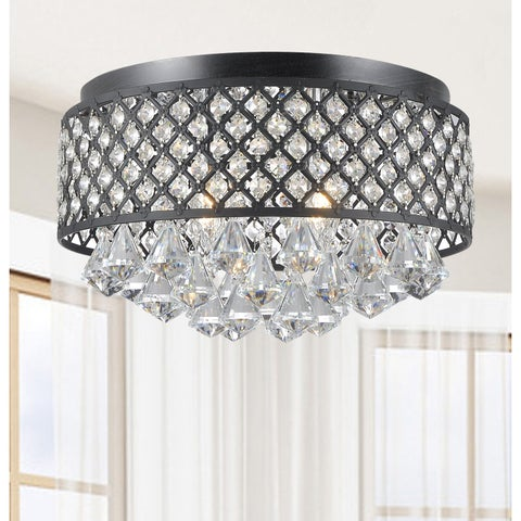 Silver Orchid Taylor 4-light Antique Black Flush Mount Chandelier