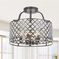 Evelyn 5-light Antique Black Flush Mount Chandelier