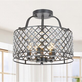 The Lighting Store Evelyn Antique Black-finished Metal 5-light Flush-mount Chandelier with Crystal Accents