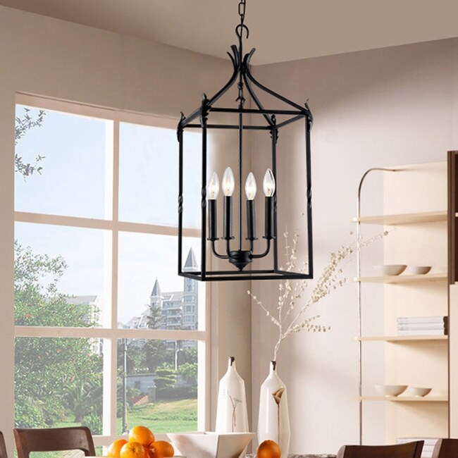 Hanging Lantern Chandelier Ceiling Light Candelabra Style Bulb Black Iron Finish