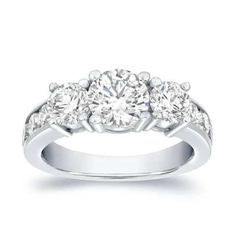 Auriya 14k Gold 3ctw Round 3-Stone Diamond Engagement Ring