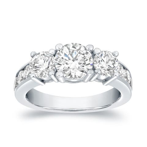 Auriya Round 3 carat TW 3-Stone Diamond Engagement Ring 14k White Gold