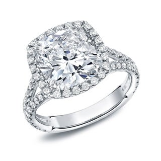 Link to Auriya 18k Gold 4 1/3ctw Cushion-cut Halo Diamond Engagement Ring Similar Items in Wedding Rings