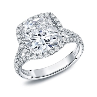Auriya 18k White Gold 4 1/3ct TDW Certified Cushion-Cut Diamond Halo Engagement Ring