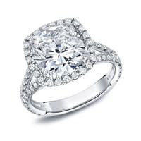 Auriya 18k White Gold 4 1/3ct TDW Certified Cushion Cut Halo Diamond Engagement Ring