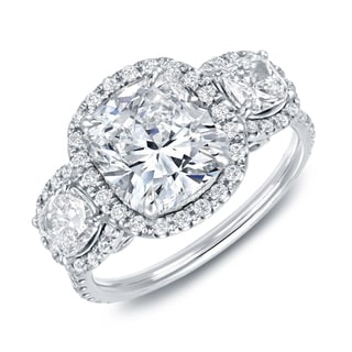 Auriya 14k White Gold 4 2/5ct TDW Certified Cushion Cut Diamond 3-Stone Halo Engagement Ring (Option: 7.5)