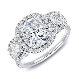 Auriya 14k White Gold 4 2/5ct TDW Certified Cushion Cut Diamond Halo 3-Stone Engagement Ring (Option: 5)|https://ak1.ostkcdn.com/images/products/9443876/P16629252.jpg?impolicy=medium