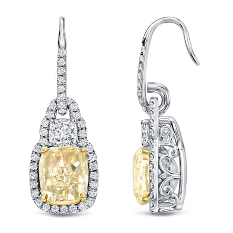 Auriya 8 1/6ctw Fancy Cushion-cut Halo Light Yellow Diamond Dangle Earrings 18k Gold