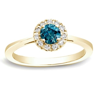 Auriya 14k Gold 1/2ct TDW Blue Round Diamond Halo Ring