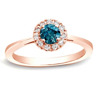 Auriya 14k Rose Gold 1/2ct TDW Blue Diamond Halo Engagement Ring