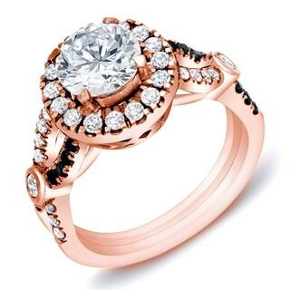Auriya 14k Rose Gold 1 3/5 ct TDW Certified Black and White Diamond Halo Engagement Ring
